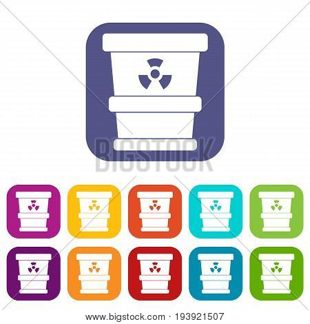 Trashcan containing radioactive waste icons set vector illustration in flat style In colors red, blue, green and other