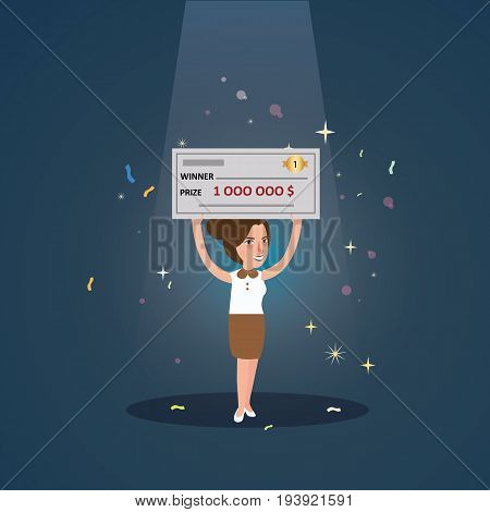 woman girl win big money holding cheque cartoon character under spot light vector