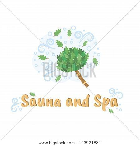 Vector logo template for sauna and Spa or bath. Illustration of broom for a bath. EPS10. Creative logotype.