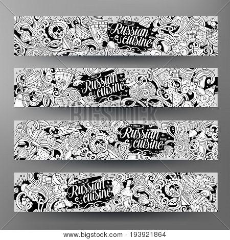 Cartoon cute vector hand drawn doodles Russian food corporate identity. 4 horisontal banners design. Templates set