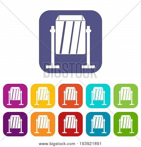 Metal dust bin icons set vector illustration in flat style In colors red, blue, green and other