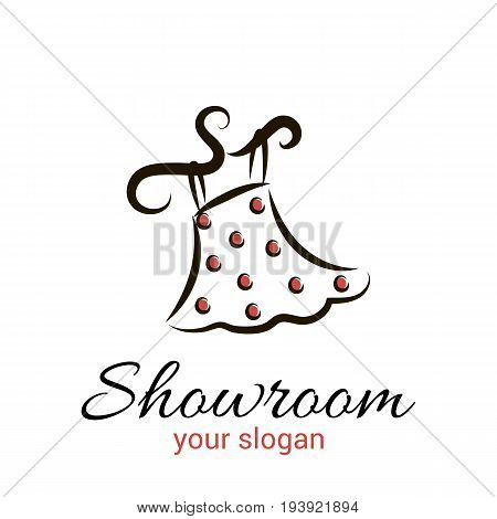 Vector logo template for women's clothing showroom or boutique. The skirt with red dots on a hanger.