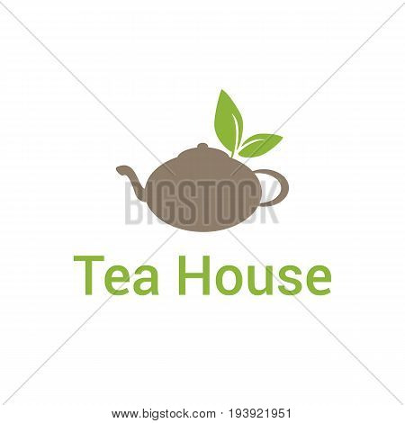 Vector logo template for tea house or tea shop. Logotype with traditional teapot with tea leaves. Tea icon. EPS10.