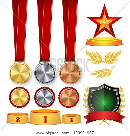 Ceremony Winner Honor Prize. Trophy Awards Cups, Golden Laurel Wreath With Red Ribbon And Gold Shield, Medals Template, Sports Placement Podium. 1st, 2nd, 3rd Place. Vector Illustration