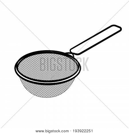 Hand drawn sketch of Sieve isolated Black and White Cartoon Vector Illustration for Coloring Book - Line Drawn Vector