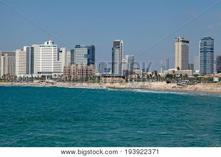 TEL AVIV, ISRAEL - AUGUST 27, 2016: Tel Aviv coast panoramic view with modern skyscrapers, Middle East, Israel. Tel Aviv-Yafo is a major city in Israel.