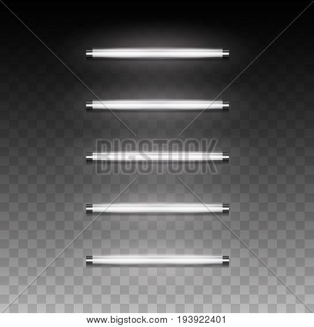 3d realistic vector long luminescence fluorescent energy saving lamp of daytime scattered light with low operating temperature local and general artificial lighting for ofice industrial pendant room