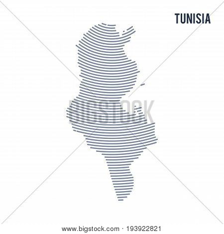 Vector abstract hatched map of Tunisia with curve lines isolated on a white background. Travel vector illustration.