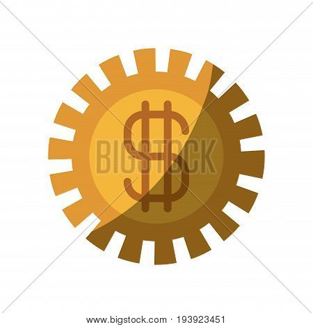 colorful silhouette of pinion with money symbol and half shadow vector illustration