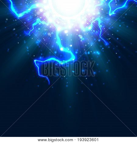 Vector background stylized image of lightning electric energy explosion. The illustration is intended for fiction business science education internet resources.
