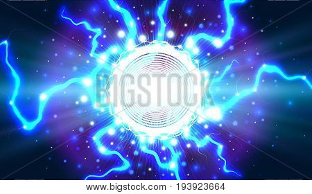 Lightning. A fantastic clot of energy. Explosion of electricity. Vector background.