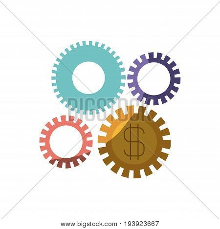 colorful silhouette of gears representing economic development with half shadow vector illustration
