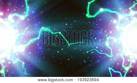 Vector background with the image of the energy of electricity. Electricity space energy lightning. Vector image for science business education and science fiction.