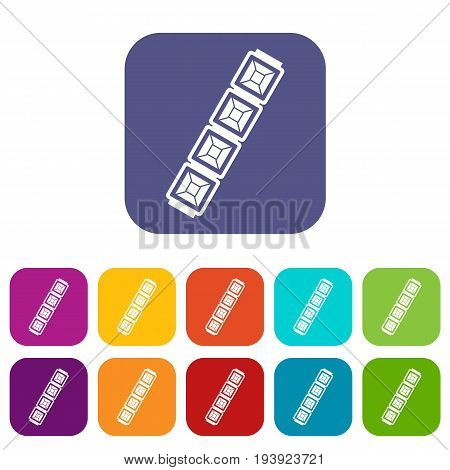 Jewelry chain icons set vector illustration in flat style In colors red, blue, green and other