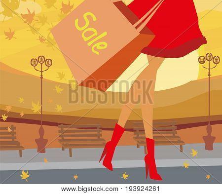 Autumn woman legs on Sale banner , vector illustration