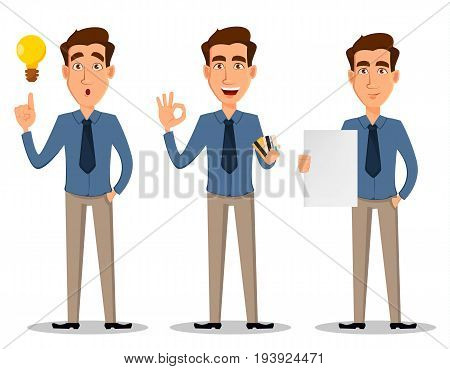 Business man set of 3 poses isolated on white background. Having an idea showing ok sign and holding blank banner greeting and with clipboard - stock vector