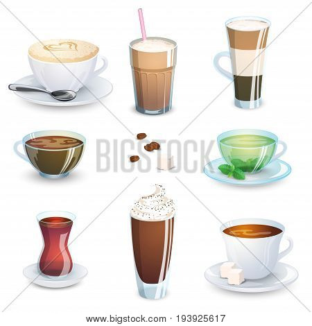 Set of non-alcoholic beverages - tea herbal tea hot chocolate latte mate coffee. Vector illustration isolated