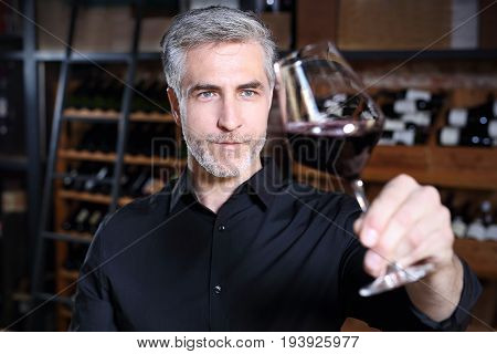 Red wine, man evaluates the color of wine in a glass