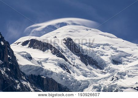 View of the Mont Blanc on a beautiful sunny day. Alps.