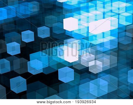 Sci-fi or technology fractal background. Futuristic structure of chaos glowing cubes. Abstract computer-generated image. Tech style wallpaper or backdrop for creative design projects.