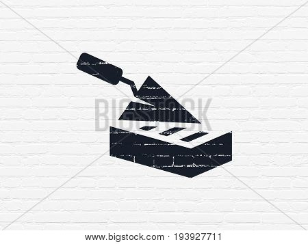 Construction concept: Painted black Brick Wall icon on White Brick wall background