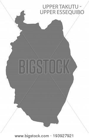 Upper Takutu - Upper Essequibo Guyana Map Grey Illustration Silhouette