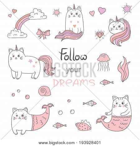 Set of cute cats mermaids and cats unicorns. Vector collection of trendy stickers patches in pink and white colors.