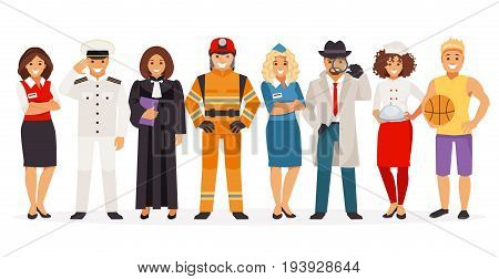 Set of people with different professions isolated on white background. Part 1. Vector illustration