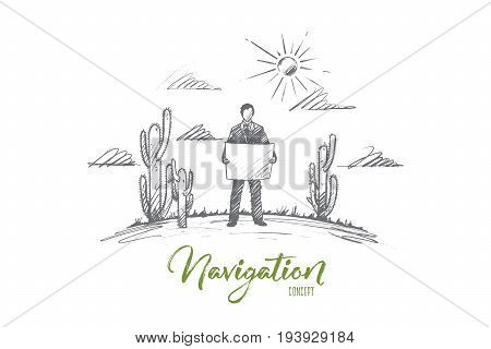Navigation concept. Hand drawn traveler exploring map. Man with map in desert with cactuses isolated vector illustration.