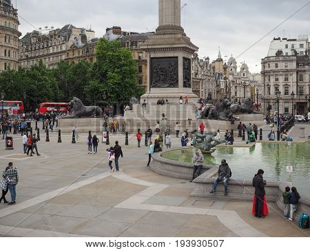 People In Trafalgar Square In London