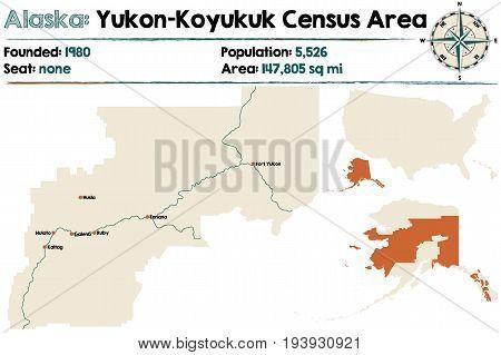 Large and detailed map of Yukon-Koyukuk Census Area in Alaska