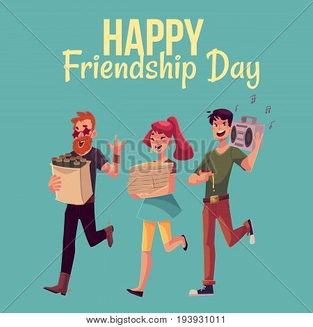 Happy friendship day greeting card design with friends hurrying to a party, fetching beer, pizza, music, cartoon style vector illustration isolated on blue background.