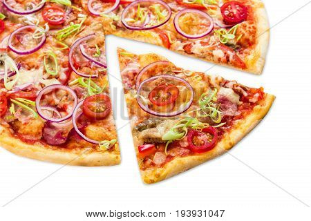 Pizza slice closeup isolated on white background, with onions, bacon and cherry tomatoes, thin pastry crust, closeup