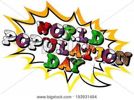 Illustrated banner greeting card or poster for World Population Day.