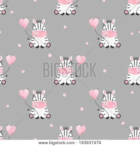 Cute zebra with balloon seamless pattern. Vector kids background. Baby print.