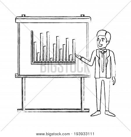 monochrome blurred silhouette of businessman in formal suit with necktie making presentation vector illustration