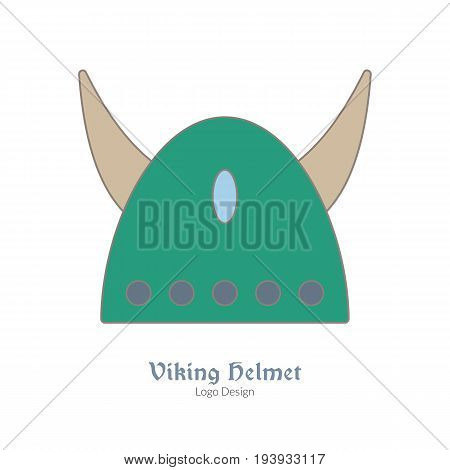 Medieval horned Viking helmet. Single logo modern flat thin line style isolated on white background. Colorful medieval theme symbol. Simple medieval pictogram logotype template. Vector illustration