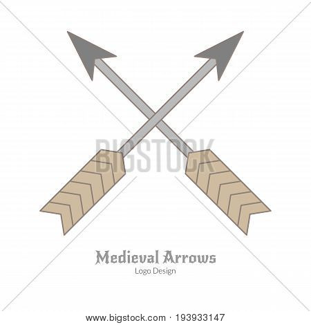 Medieval crossed arrows. Single archery logo in flat and thin line style isolated on white background. Colorful medieval theme symbol. Simple medieval pictogram logotype template. Vector illustration