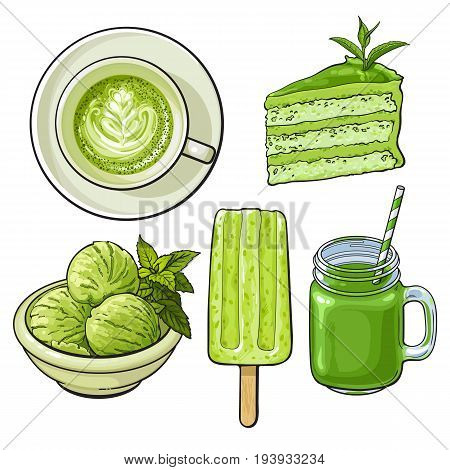 Hand drawn food with matcha green tea - ice cream, cake, drinks, sketch vector illustration isolated on white background. Hand drawn matcha tea food - ice cream, popsicle, cake, cappuccino, cocktail