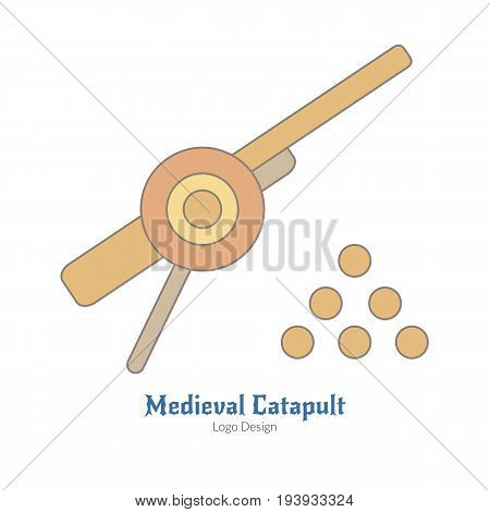 Medieval cannon with cannonballs. Single logo in flat thin line style isolated on white background. Colorful medieval theme symbol. Simple medieval pictogram logotype template. Vector illustration.