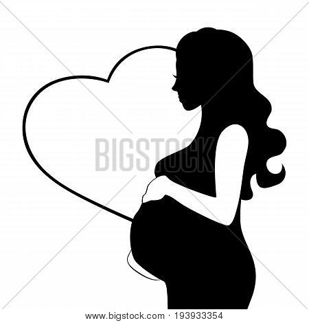 Pregnant woman vector silhouette isolated on white background. Pregnant woman flat silhouette