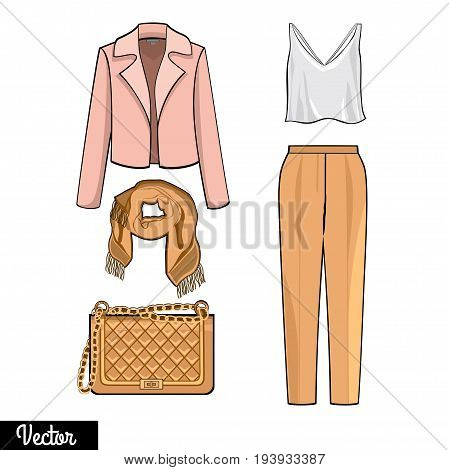 Illustration stylish and trendy clothing.Coat, trousers of a pipe, T-shirt, scharf. Silhouette made in modern style.Lady fashion set of outfit. Stylish and trendy clothing. Fashion vector Illustration
