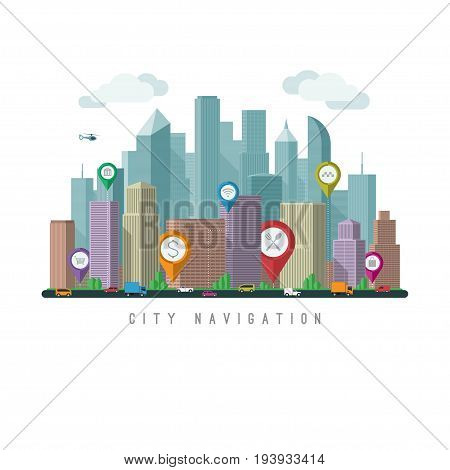 City navigation concept. Urban landscape with map pointers and city traffic. Vector illustration. Flat design