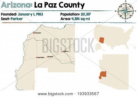 Large and detailed map of La Paz county in Arizona