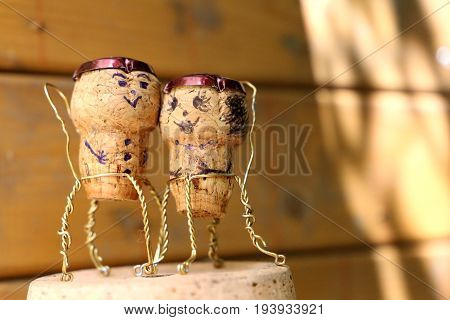 Funny man and woman cork figures on a flower pot