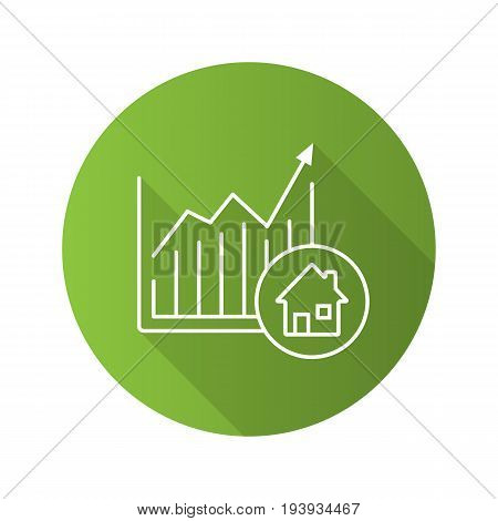 Real estate market growth chart. Flat linear long shadow icon. Houses price rise. Vector outline symbol