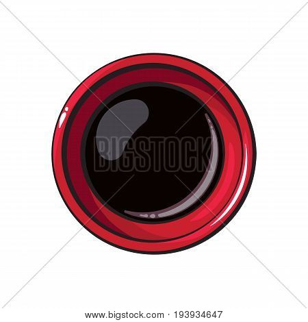 Top view drawing of soy sauce bowl, Asian, Chinese, Japanese cuisine, sketch style vector illustration isolated on white background. Traditional Chinese, Japanese, Thai cuisine - full soy sauce bowl