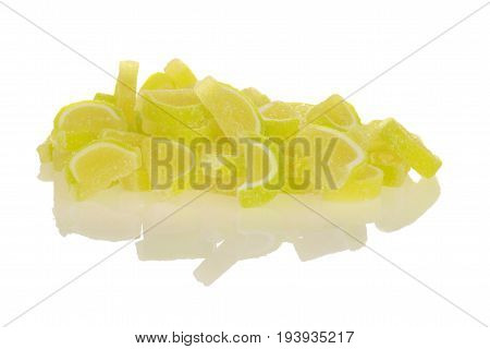 sugar coated lime jelly candy on white
