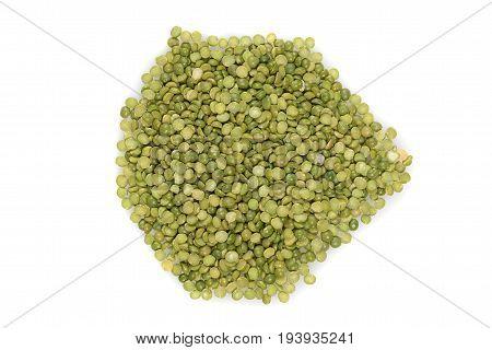 top view split green peas on white