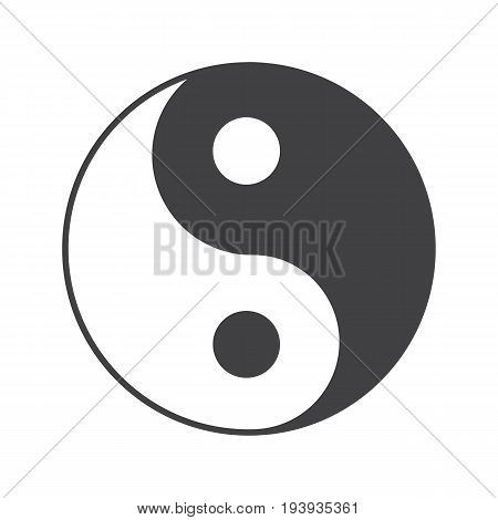 Yin yang glyph icon. Silhouette symbol. Negative space. Vector isolated illustration